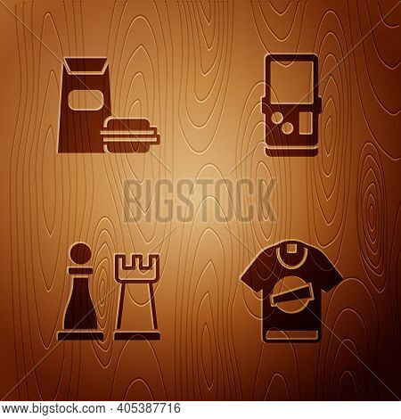 Set T-shirt, Burger, Chess And Tetris On Wooden Background. Vector