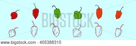 Set Of Habanero Chili Peppers Cartoon Icon Design Template With Various Models. Modern Vector Illust