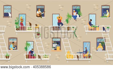 House Exterior With People In Windows And Balconies Staying At Home And Doing Different Activities: