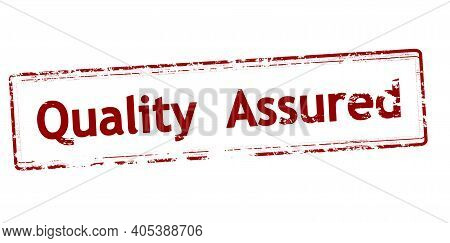 Rubber Stamp With Text Quality Assured Inside, Vector Illustration