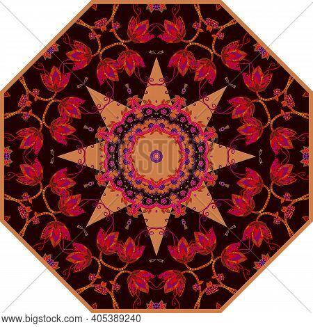 Beautiful Mandala Pattern With Intricate Floral Motifs. Print For Umbrella, Carpet, Rug.