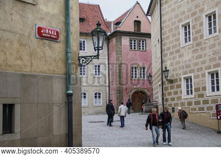 Prague, Czech - April 24, 2012: This Is The Crossroads Of The Oldest Streets Of Prague Castle.