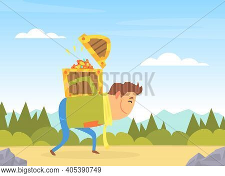 Man Carrying Treasure Chest On His Back, Licky Man, Treasure Hunter, Financial Success Concept Carto
