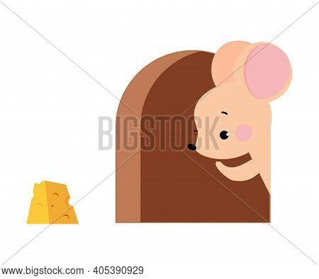 Cute Mouse With Pointed Snout And Rounded Ears Peeping From Its Hole For Cheese Slab Vector Illustra