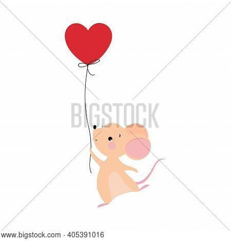 Cute Mouse With Pointed Snout And Rounded Ears Holding Rope Of Red Toy Balloon Vector Illustration