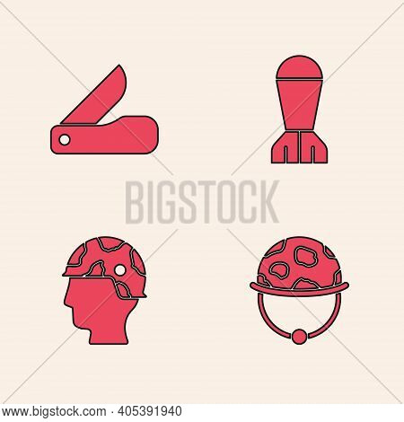 Set Military Helmet, Swiss Army Knife, Aviation Bomb And Army Soldier Icon. Vector