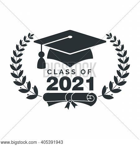 Graduate Cap Black Logo With Laurel Wreath