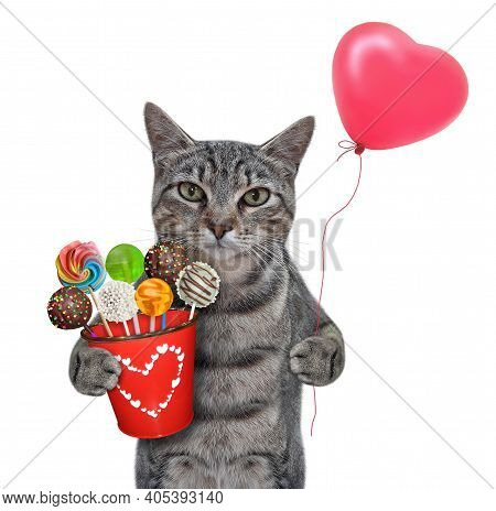 A Gray Cat Holds A Red Pail With Sweets And A Heart Shaped Balloon. White Background. Isolated.