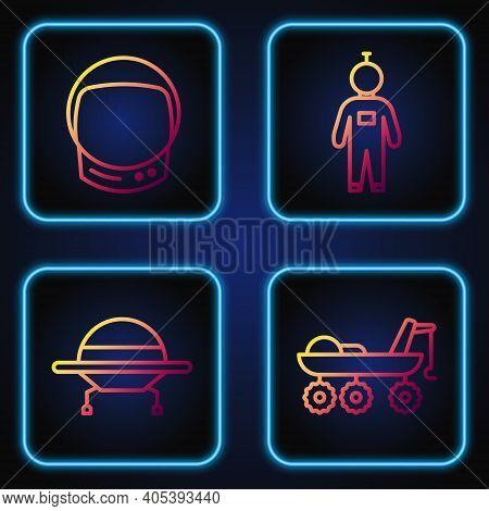 Set Line Mars Rover, Ufo Flying Spaceship, Astronaut Helmet And Astronaut. Gradient Color Icons. Vec