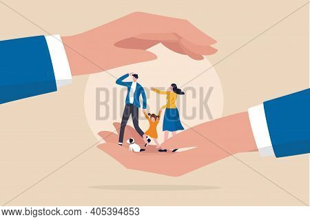 Family Safety, Life Insurance Or Protection Concept, Lovely Family Holding Hands, Parent With Daught