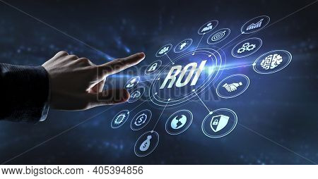 Internet, Business, Technology And Network Concept. Roi Return On Investment Financial Growth Concep