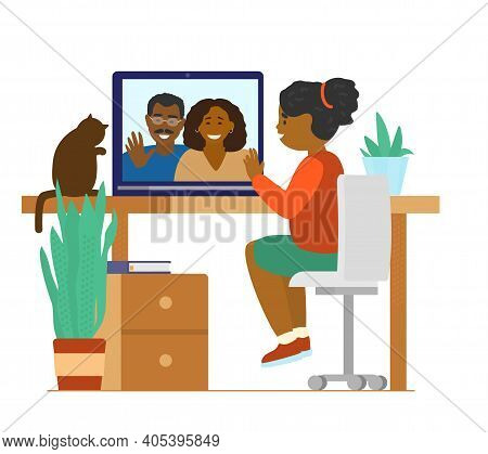 Afroamerican Girl Talking To Parents By Videocall. Family Videoconference. Online Communication. Fla