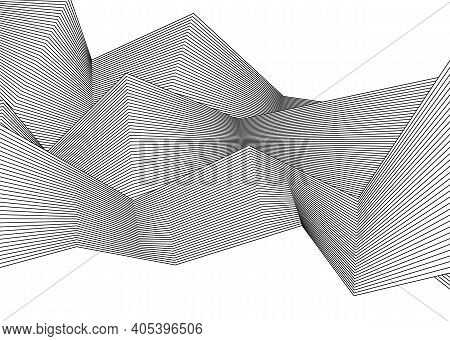 Halftone Bitmap Lines Retro Background Black And White. Optical Art Wavy Background. Abstract Waves
