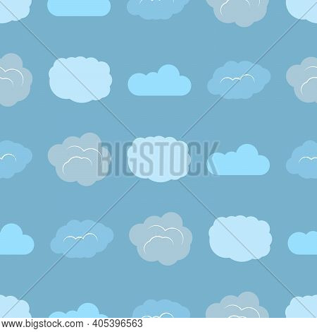 Seamless Pattern With Clouds On Blue Sky. Cute Endless Cloudscape. Vector Illustration.
