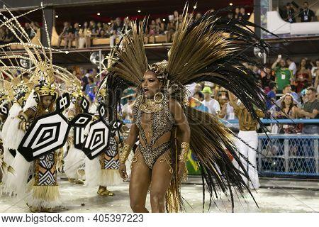Rio, Brazil - February 23, 2020: Parade Of The Samba School Grande Rio, At The Marques De Sapucai Sa