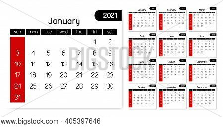 2021 Calendar Simple Clean White Black Red Full Month Year Vector Template