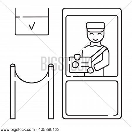 Customs Icon Vector In Outline Style. Officer Checks The Passport, Stamps It, And Gives Touristic Vi