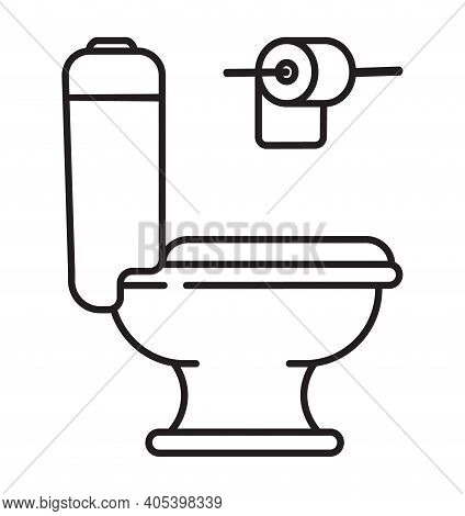Toilet Icon Vector In Outline Style. Toilet Bowl, Toilet Paper Roll