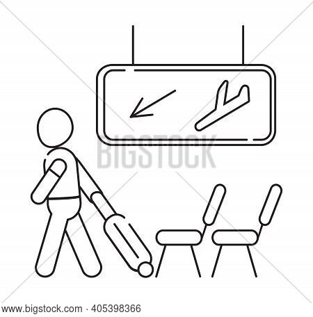 Arrival Area Icon Vector. Airport Transit Zone Sign In Outline Style Is Shown. Man Pulling Suitcase.