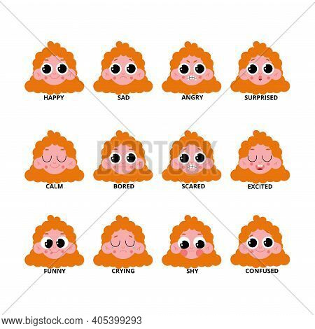 A Set Of Expressions Of A Little Red-haired Girl. A Collection Of Baby Faces With Different Expressi
