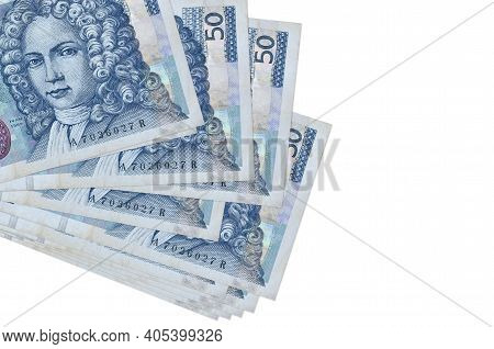 50 Croatian Kuna Bills Lies In Small Bunch Or Pack Isolated On White. Mockup With Copy Space. Busine
