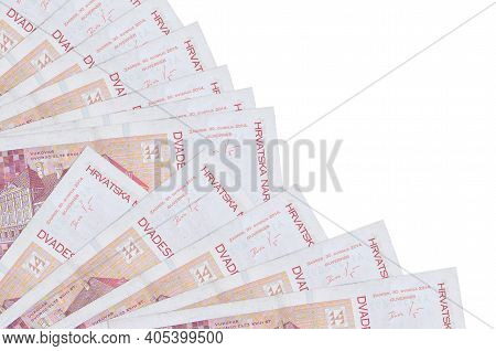 20 Croatian Kuna Bills Lies Isolated On White Background With Copy Space Stacked In Fan Close Up