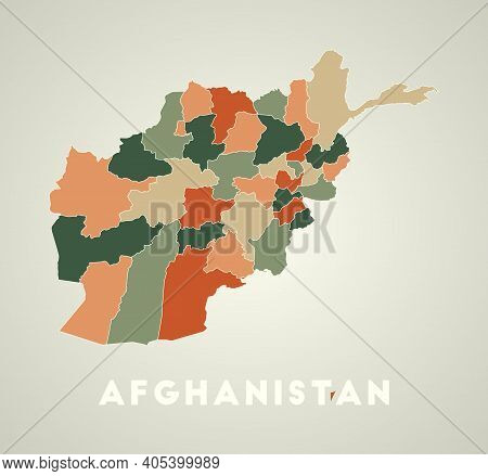 Afghanistan Poster In Retro Style. Map Of The Country With Regions In Autumn Color Palette. Shape Of