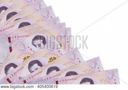 500 Thai Baht Bills Lies Isolated On White Background With Copy Space Stacked In Fan Close Up. Payda