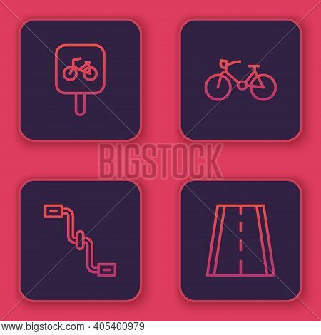 Set Line Bicycle Parking, Pedals, And Lane. Blue Square Button. Vector