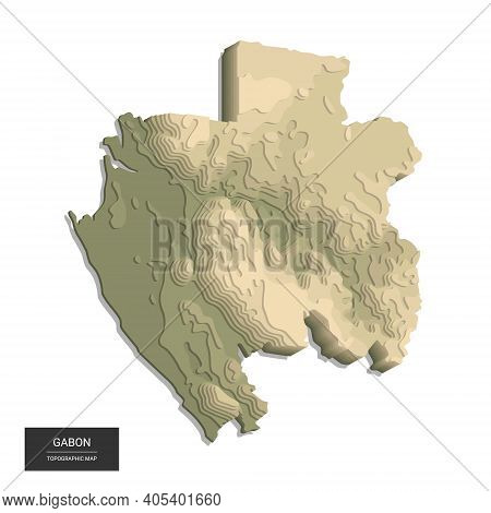 Gabon Map - 3d Digital High-altitude Topographic Map. 3d Vector Illustration. Colored Relief, Rugged