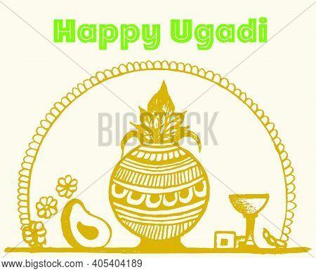 Drawing Or Ketch Of Happy Ugadi. Hindu Indian Festival Ugadi Or Gudi Padwa Wishes Editable Outline I