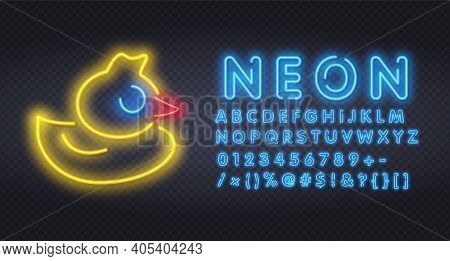 Glowing Neon Yellow Duck. Glow Effect Sign Night Club Or Bar Concept. On Dark Background Rubber Duck