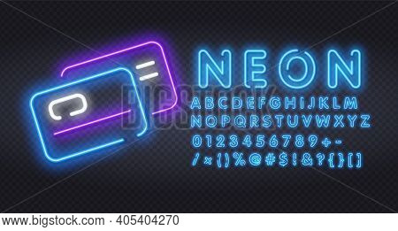 Plastic Credit Cards Neon Light Icon. Purchase Goods Online. Pay Without Cash. Credit Bank Accout. O