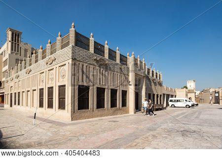 Dubai, United Arab Emirates - 04 December, 2018: Traditional Arabic Street In Historical Al Fahidi D