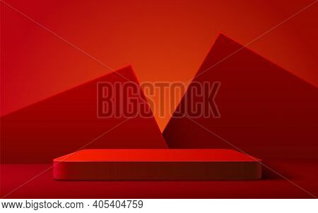 Abstract Scene Background. Rectangle Podium On Red Background. Product Presentation, Mock Up, Show C