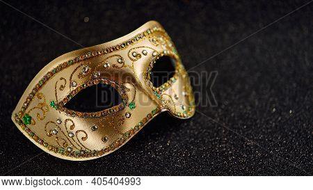 Festive, Colorful Mardi Gras Or Carnivale Mask On Glitter Black Background. Venetian Masks. Party In