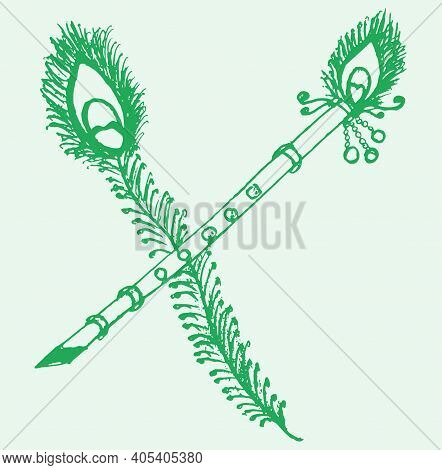 Drawing Or Sketch Of Lord Krishna Symbols Like Peacock Feather And Flute Outline Editable Illustrati