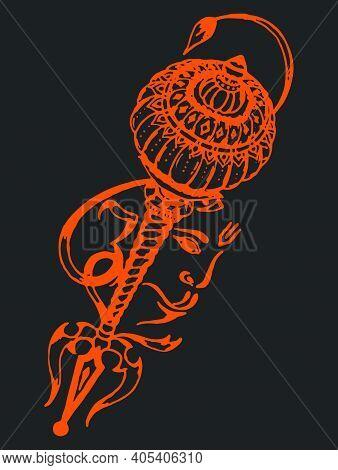 Sketch Of Lord Hanuman Face And Mace Or Bhajarangabali Sign And Symbols Outline Editable Illustratio