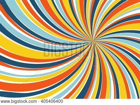 Swirl rays background. 1970s style. Spiral striped design with retro colors palette.