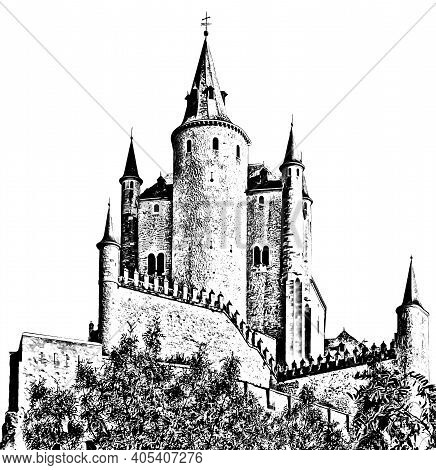 Graphical Medieval Castle Alcazar On White Background, Segovia, Spain. Pencil Drawing Style.