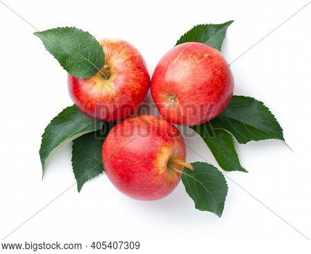 Red Apples With Leaves Isolated Over White Background. Gala Apple. Top View