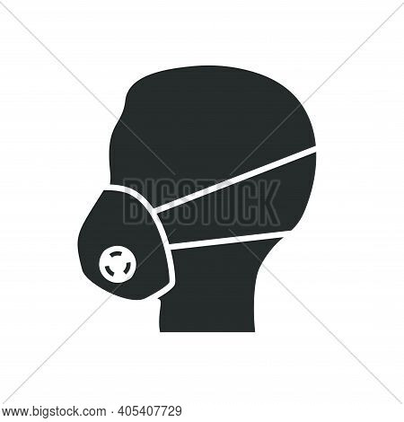 Silhouette Of A Man's Head In A Respirator. Icon Indicating The Need To Wear A Respirator.