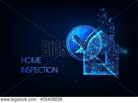 Futuristic Home Inspection.concept With Glowing Low Polygonal Residential House And Magnifying Glass