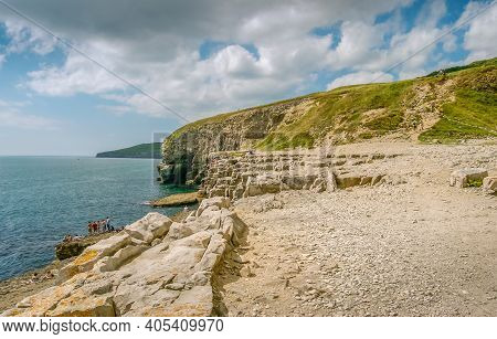 Looking West Along The Rocky Jurassic Coast From The Dancing Ledge, Langton Matravers, Near Swanage,