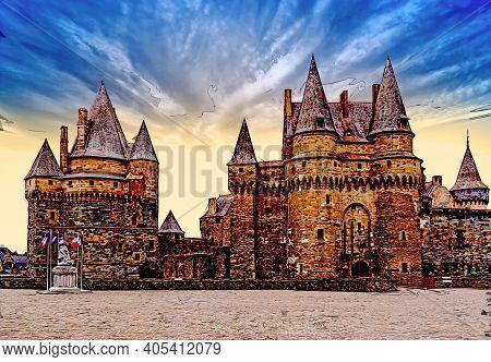 Medieval Castle Vitre, Brittany, France. Marker Sketch Illustration.