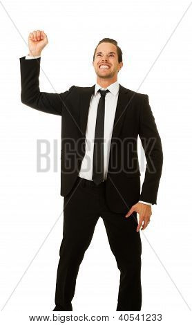 Business Man With Hand In Air
