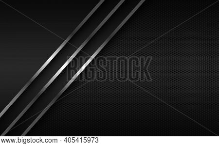 Abstact Background With Silver Lines On Overlapped Layers And Polygonal Pattern. Template For Your B