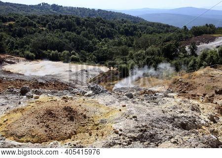 Monterotondo Marittimo (gr), Italy - June 25, 2017: Biancane Park And The Geothermal Area Al Montero