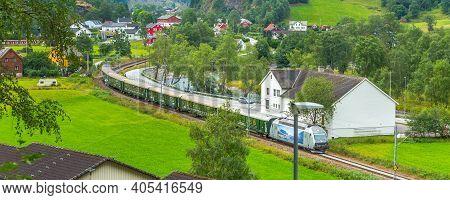 Flam, Norway - July 31, 2018: Myrdal Flamsbana Train In Norwegian Village Near Sognefjord Fjord, Loc