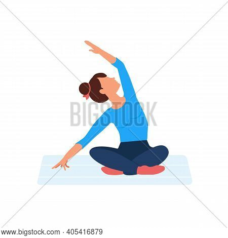 Women Yoga. Sportive Young Woman Does Yoga. Healthy Lifestyle. Cartoon Character Demonstrating Yoga